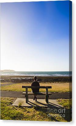 Male Tourist Enjoying Ocean Landscape Sunset Canvas Print