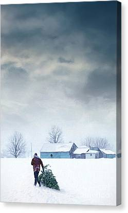 Man Carrying Tree For Christmas/digital Painting Canvas Print by Sandra Cunningham