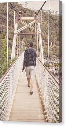Enjoyment Canvas Print - Man On Alexandra Suspension Bridge In Tasmania by Jorgo Photography - Wall Art Gallery