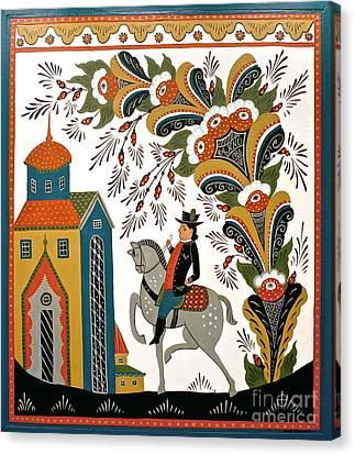 Man On Horse Canvas Print by Leif Sodergren
