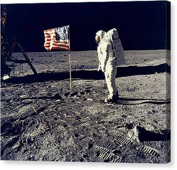 Man On The Moon Canvas Print by Neil Armstrong/Underwood Archive