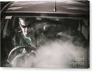 Man Sitting In Broken Down Car With Smoke Canvas Print