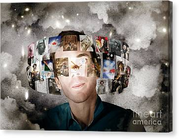 Man Streaming Media With Cloud Server Informatics Canvas Print by Jorgo Photography - Wall Art Gallery