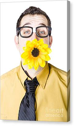 Man With Flower In Mouth Canvas Print
