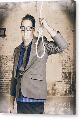 Manager Business Man Holding Noose Rope At Gallows Canvas Print by Jorgo Photography - Wall Art Gallery