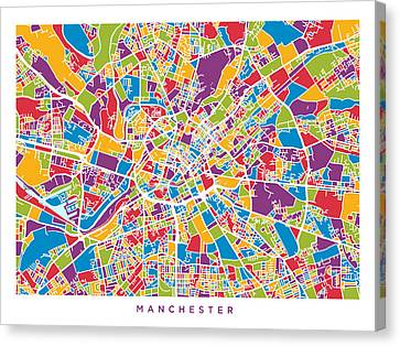 Manchester England Street Map Canvas Print by Michael Tompsett