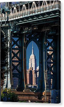 Fire Escape Canvas Print - Manhattan Bridge Frames Empire State by Panoramic Images