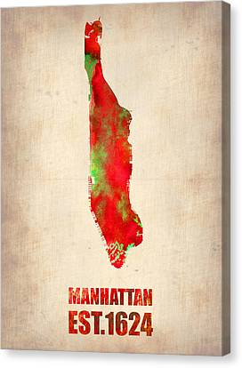 Manhattan Watercolor Map Canvas Print by Naxart Studio