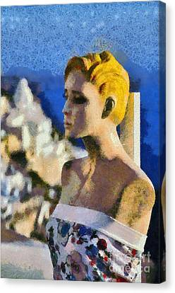Mannequin Doll In Fira City Canvas Print