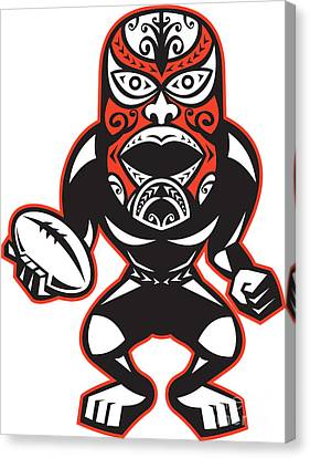 Maori Mask Rugby Player Standing With Ball Canvas Print