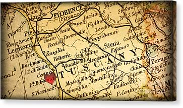 Map Of Florence Tuscany Italy Europe In A Antique Distressed Vin Canvas Print by ELITE IMAGE photography By Chad McDermott