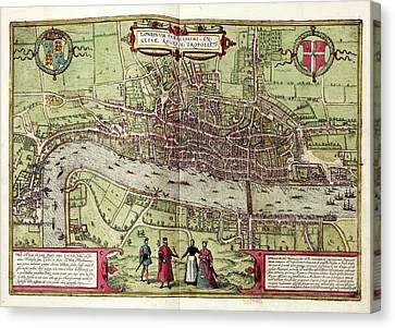 City Of Bridges Canvas Print - Map Of London by Library Of Congress, Geography And Map Division
