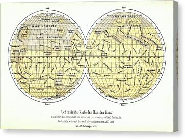 Map Of Mars Canvas Print