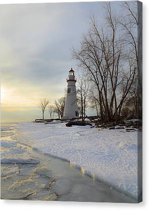 Marblehead Lighthouse Winter Sunrise Canvas Print