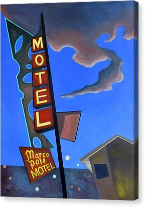 Canvas Print featuring the painting Marco Polo Motel by Sally Banfill