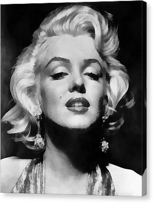 1950s Portraits Canvas Print - Marilyn Monroe - Black And White  by Georgia Fowler