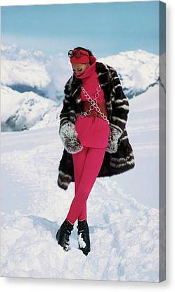 Marisa Berenson In The Snow Canvas Print by Arnaud de Rosnay