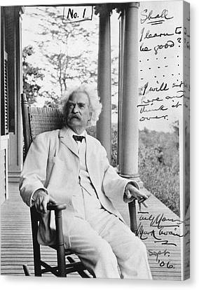 Mark Twain On A Porch Canvas Print by Underwood Archives