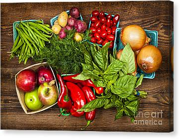 Assorted Canvas Print - Market Fruits And Vegetables by Elena Elisseeva