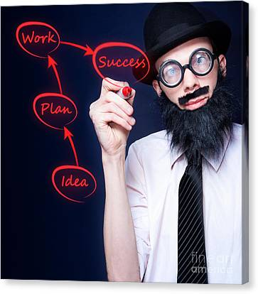 Marketing Business Man Drawing Success Diagram Canvas Print by Jorgo Photography - Wall Art Gallery