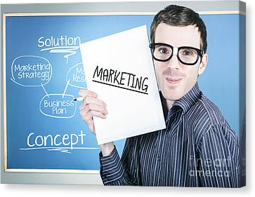 Business Plan Canvas Print - Marketing Man Displaying Business Plan For Success by Jorgo Photography - Wall Art Gallery