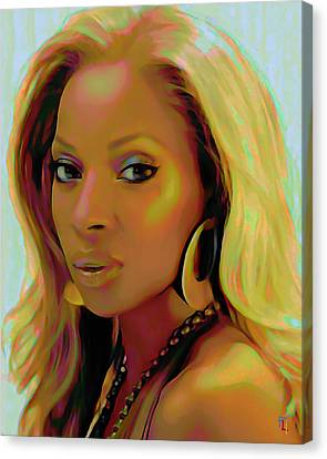 Mary J Blige Canvas Print by  Fli Art