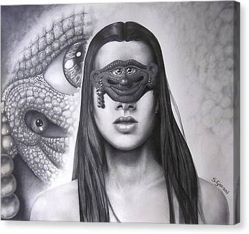Canvas Print featuring the drawing Masked Beauty by Geni Gorani