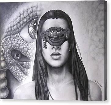 Masked Beauty Canvas Print by Geni Gorani