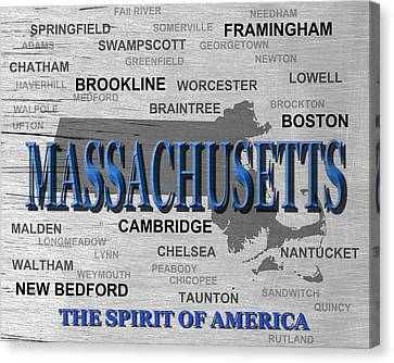 Massachusetts State Pride Map Silhouette  Canvas Print by Keith Webber Jr