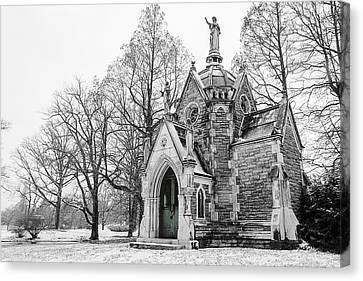 Mausoleum In Snow Canvas Print