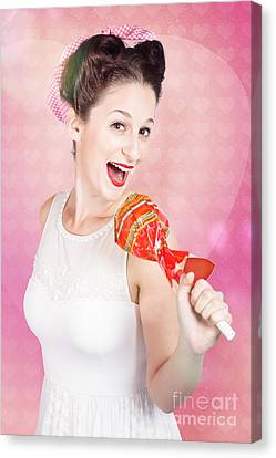 Mc Female Pin Up Singing With Lollipop Microphone Canvas Print by Jorgo Photography - Wall Art Gallery