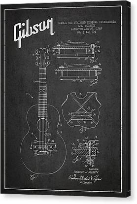 Gibson Guitar Canvas Print - Mccarty Gibson Stringed Instrument Patent Drawing From 1969 - Dark by Aged Pixel