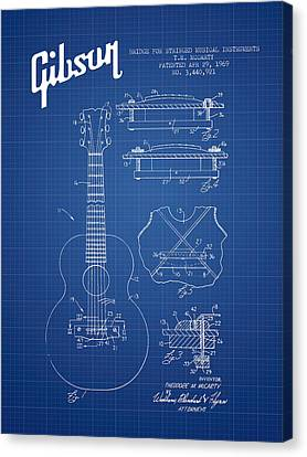 Mccarty Gibson Stringed Instrument Patent Drawing From 1969 - Bl Canvas Print by Aged Pixel