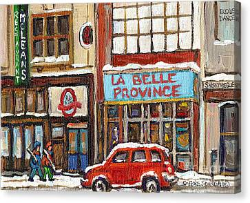Mcleans Irish Pub Montreal Canvas Print by Carole Spandau