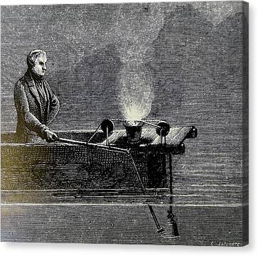 Measuring The Velocity Of Sound In Water Canvas Print by Universal History Archive/uig
