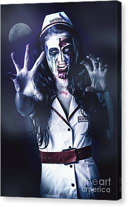 Medical Zombie Looking To Kill At Dead Of Night Canvas Print by Jorgo Photography - Wall Art Gallery
