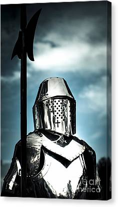 Medieval Knight Holding Weapon Canvas Print