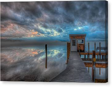 Melvin Village Marina In The Fog Canvas Print