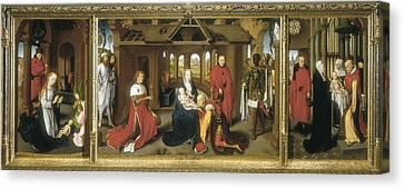 The Sacred Feminine Canvas Print - Memling, Hans 1433-1494. Triptych by Everett