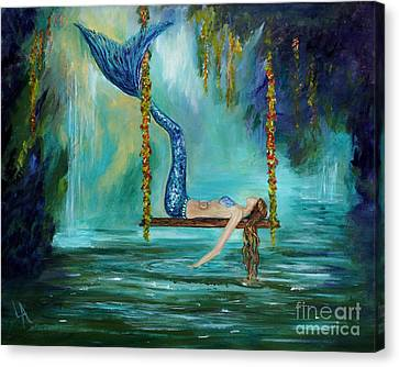Mermaids Lazy Lagoon Canvas Print by Leslie Allen
