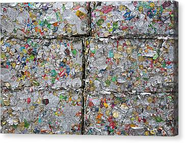 Metal Cans At A Recycling Centre Canvas Print