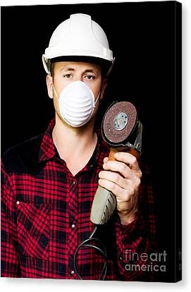 Metal Fabrication Workman With Rotary Disc Sander Canvas Print by Jorgo Photography - Wall Art Gallery