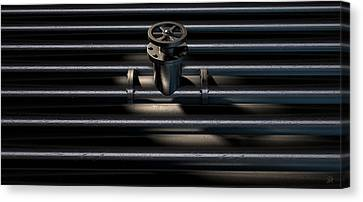 Turn Canvas Print - Metal Shutoff Valve And Pipes by Allan Swart