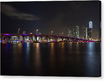 Miami Night Skyline Canvas Print by Andres Leon
