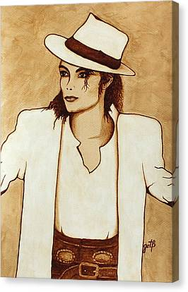 Michael Jackson Original Coffee Painting Canvas Print by Georgeta  Blanaru