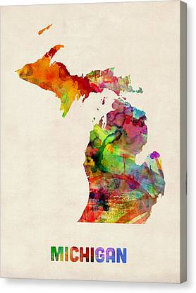 Michigan Watercolor Map Canvas Print by Michael Tompsett