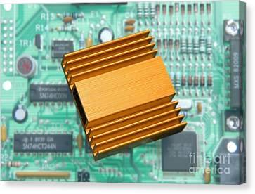 Microchip Processor Heat Sink Canvas Print by Sheila Terry
