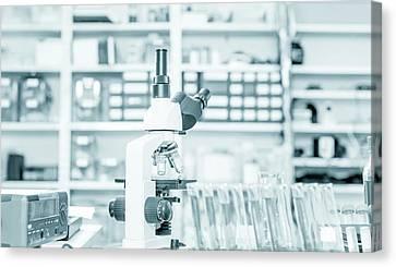 Laboratory Equipment Canvas Print - Microscope In Lab by Wladimir Bulgar
