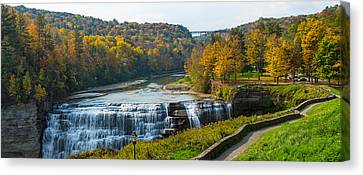 Middle Falls In Autumn, Letchworth Canvas Print by Panoramic Images