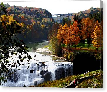 Canvas Print featuring the photograph Middle Falls Letchworth State Park by John Freidenberg